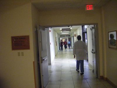 Hallway of a hospital.