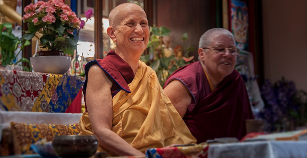 Venerable smiling during a teaching at ILTK.