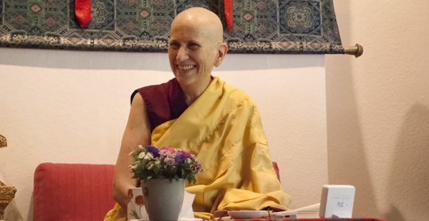 Venerable smiling while teaching.