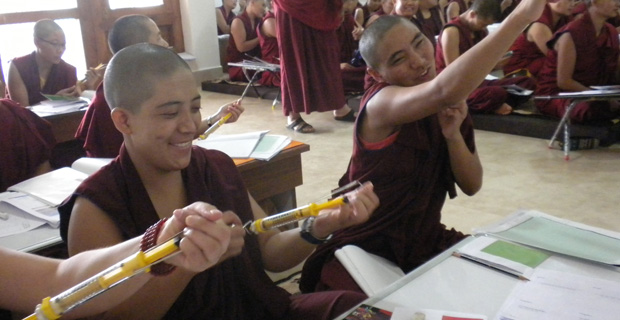 Tibetan nuns in a classroom.