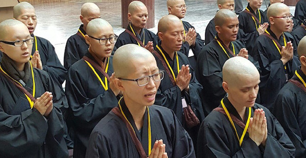 Group of nuns in Taiwan during bhikshuni ordination ceremony.